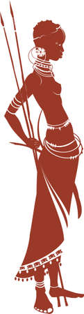 Vector illustration of the African girl with a spear.