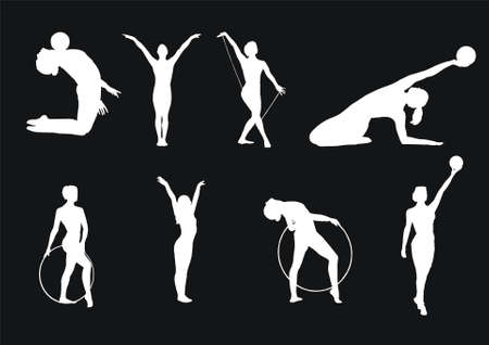 Some vector silhouettes of girls of gymnasts Illustration