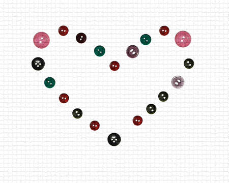 The image of textural heart from buttons, an illustration for studio Stock Illustration - 3055863
