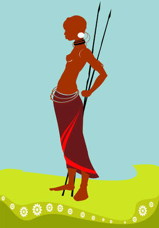 Illustration of the African girl with a spear.
