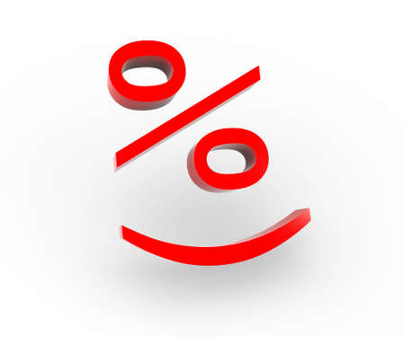 3 D a picture with the image of smile percent. An ideal illustration of cheerful sale or the big reduction of prices.  Stock Photo