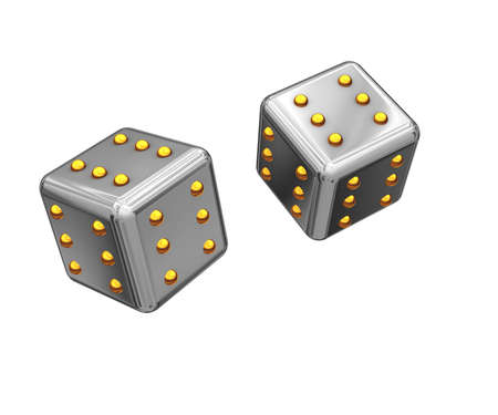 constancy: Picture with the image of two cubes flying air at which on all sides on six spots. Always advantageous cubes. Stock Photo