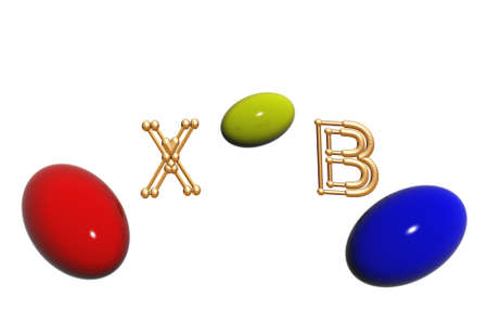 Picture by Easter three color eggs with letters. photo