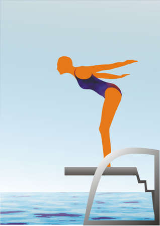 The vector image of the diving sportsman photo
