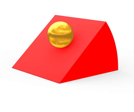 The image of a gold sphere sliding on a red hill photo