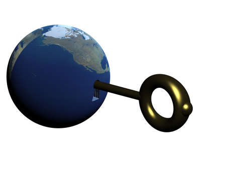 The three-dimensional image of the Earth with a key inside. Opening something photo