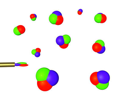 Three-dimensional picture with the image of soap bubbles of color RGB which take off from a tubule photo
