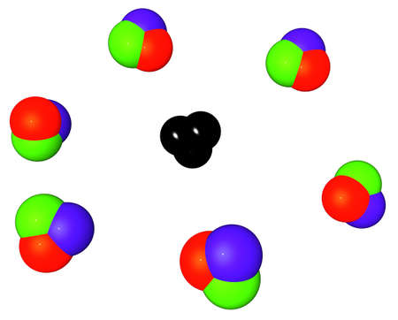 Three-dimensional picture with the image of soap bubbles of color RGB, one of which is not similar to others, it of black color photo