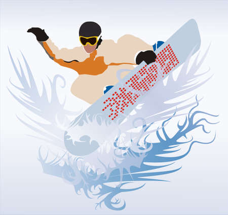 The vector image of the sportsman on a snowboard in flight. Stock Photo