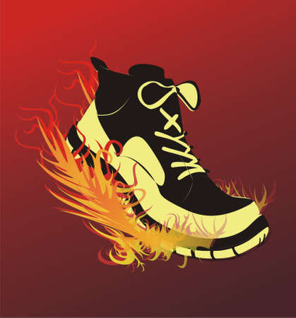 The image of sports footwear on fire during run.