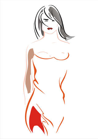 The image of the unusual, modern girl. Ideally suits for an illustration in fashionable female magazine.