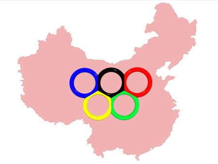 The image of a map of China with a symbol of Olympic games - Olympic rings on the middle.