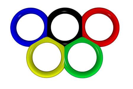 deportes olimpicos: Anillos olímpicos en un fondo blanco. Ilustración para revistas de deportes.