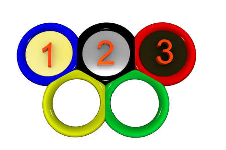 Picture with the image of Olympic rings inside of which figures 1 are located 2 and 3.
