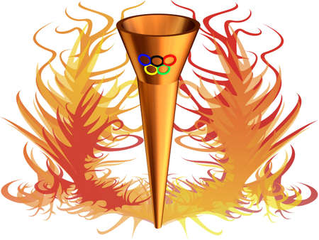 olympics: 3D the image of Olympic fire with Olympic rings, on a background of a flame. Editorial