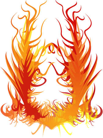 arson: The image of a beautiful flame on a white background. Stock Photo