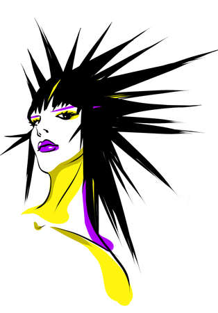 Illustration with the image of a beautiful, fashionable female hairdress.