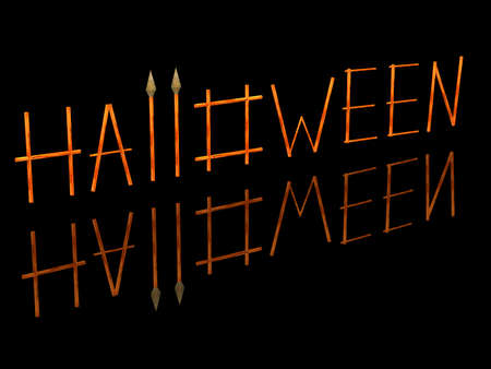 3D the image of a word a Halloween which consists of wooden sticks and two spears. Stock Photo