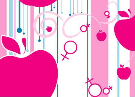 Illustration with the image of mans and female gender symbols and apples.