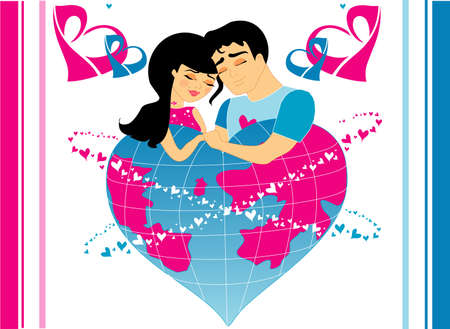 Illustration with the image enamoured men and women, in an environment of hearts. Vector