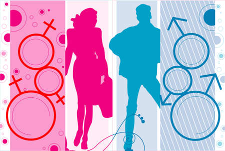 Illustration with the image of silhouettes of the man and the woman and their symbols.
