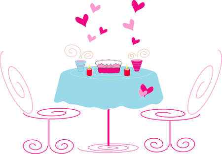 Conditions in cafe for romantic appointment. Illustration