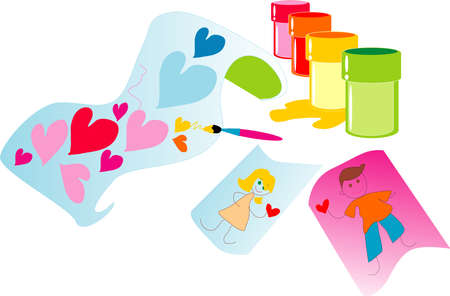 The image of jars with paints and figure of the child about love.