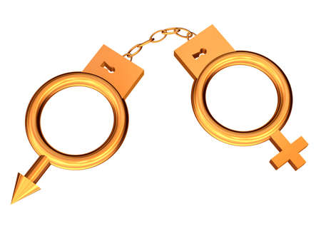 3D the image of man's and female symbols in the form of handcuffs from gold. Stock Photo - 3602047