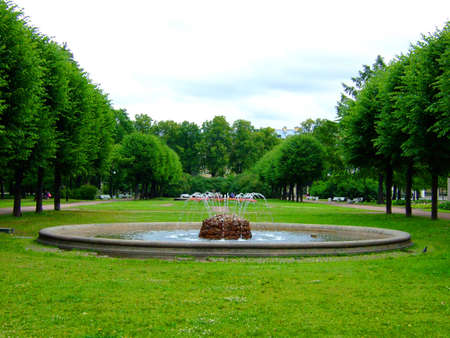 Photo in park of a beautiful small fountain. Stock Photo