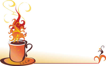 Illustration with the image of a beautiful cup of coffee.