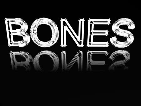 reading material: Word of a bone from a skeleton of steel letters. Stock Photo