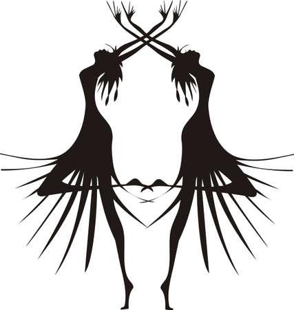 Two futuristic dancing girls,  illustration silhouette.