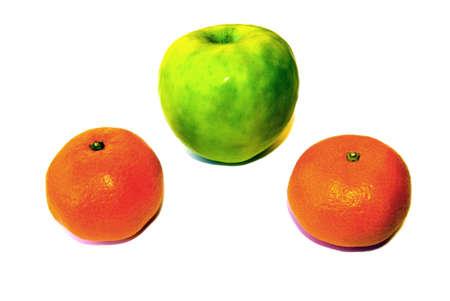 Beauty fruit apple and mandarins on a white.   photo