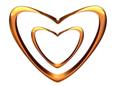 The image of two wedding rings bent in the form of hearts. 版權商用圖片