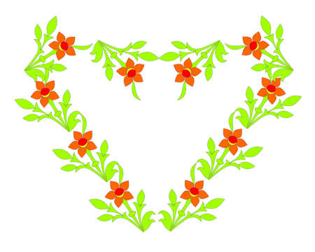 Beautiful heart laid out from flowers, a vector illustration. illustration
