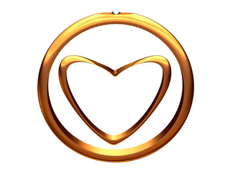 Picture with the image of gold heart inside of a gold wedding ring.