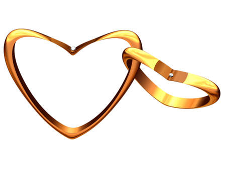 The image of two gold hearts linked among themselves.