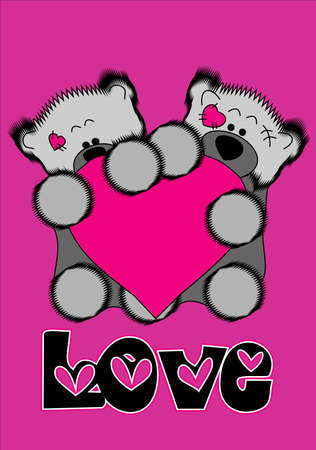 Two beautiful bear cubs who hold pink heart.