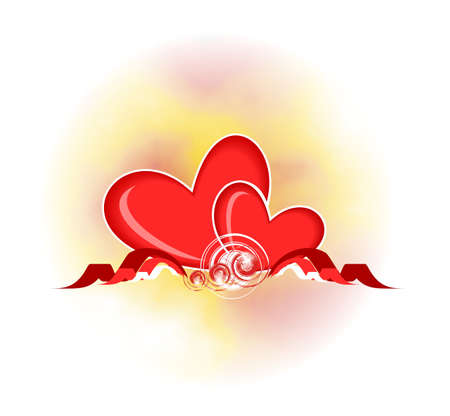 Two beautiful red hearts. A card by day enamoured. photo