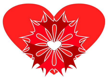 Abstract red heart with patterns. A card by day of Valentine. photo