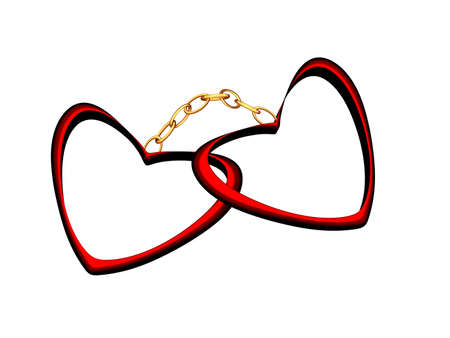 handcuffs female: Two red hearts connected by a gold circuit Stock Photo