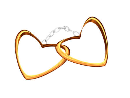 handcuffs female: Gold hearts connected by a silver chain.