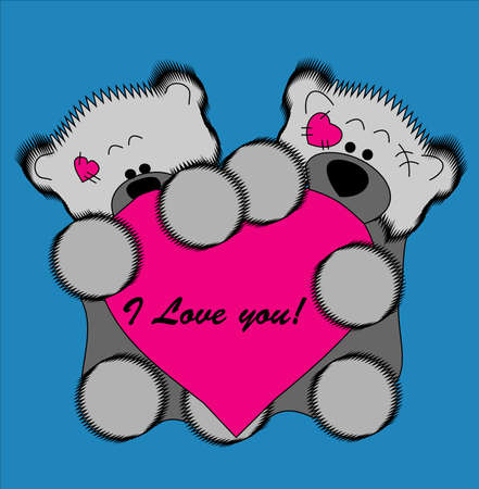 Two beautiful bear cubs who hold pink heart. Valentines card. photo