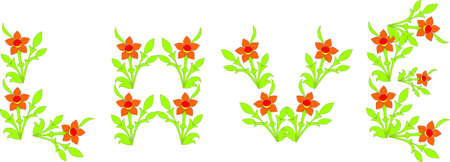 Word love laid out from flowers, a vector illustration. Vector