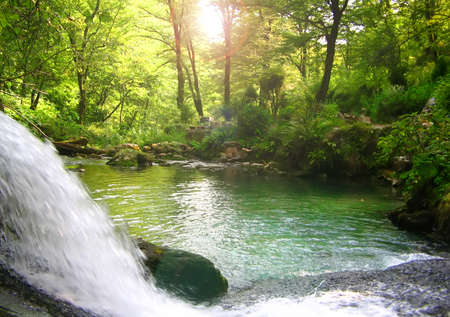 Photo of lonely lake inside of a wood with a falls. Stock Photo - 4437435