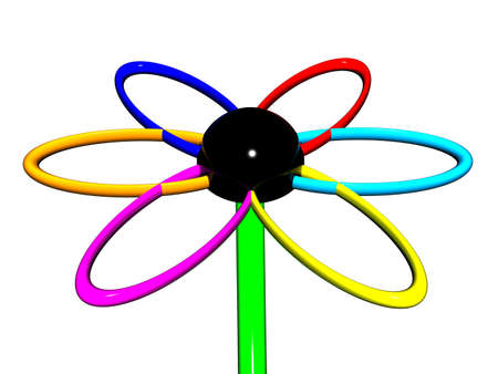 Beautiful multi-coloured flower from metal on a white background. photo