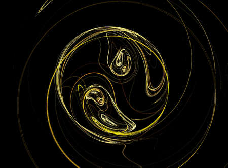 good karma: The abstract image of a symbol ying and yang from gold strings.