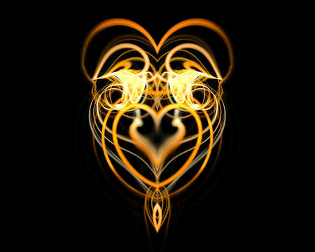 Abstract gold heart from moving fires on black.