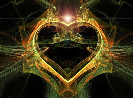 futuristic effect: Abstract multi-coloured heart with a brilliant stone above. Stock Photo