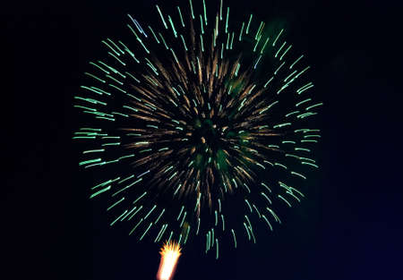 Splashes in colourful fireworks in the night sky. photo
